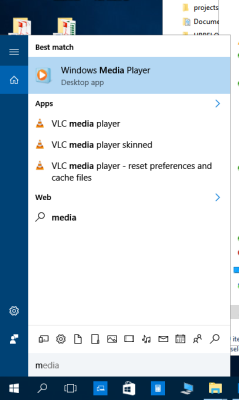 Launch of Windows Media Player searching with Cortana