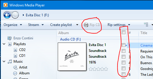 The Rip CD option is disabled because no track to be ripped is selected