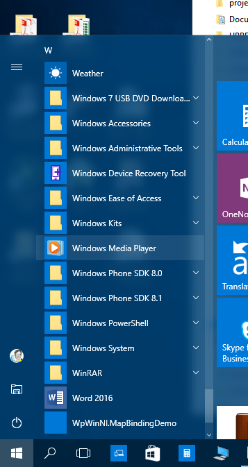 Launch of Windows Media Player from the app list
