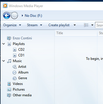 The Rip CD option is not available because no folder containing music is selected in the tree menu