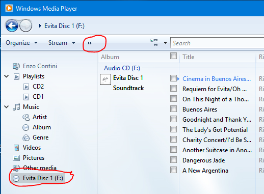 If the application window is small, the Rip CD option is reachable through the >> icon (1)