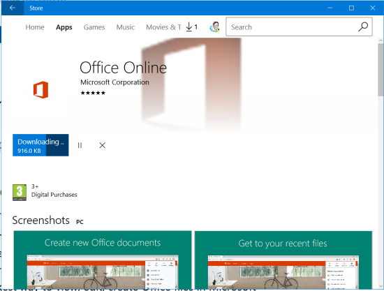 Download and install the Office Online extension