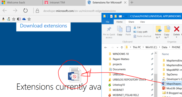 It is not still possible a drag&drop to open an Office file with Edge