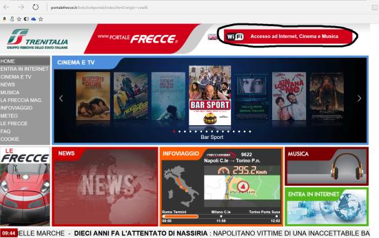 """(2) Accesso al portale frecciarossa da PC/tablet Windows 10: autenticarsi tramite il pulsante """"Accesso ad Internet, Cinema e Musica"""""""