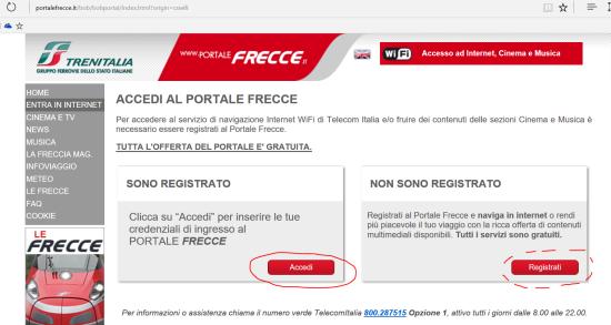 (3) Accesso al portale frecciarossa da PC/tablet Windows 10: Accedi o Registrati