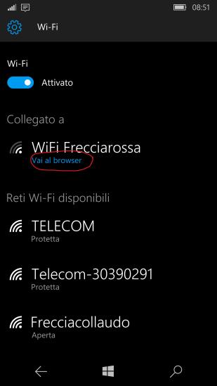 (2) Collegarso al Wi-Fi del treno