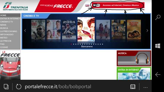 """Home page del portale -> autenticarsi tramite pulsante """"Accesso ad Internet, Cinema e Musica"""""""