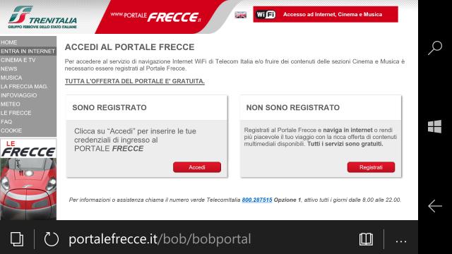 """Autenticarsi nel portale premento """"Accedi"""" o premere """"Registrati"""" per procedere con la registrazione"""