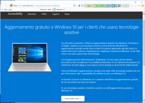 Aggiornamento gratuito a Windows 10 per i clienti che usano tecnologie assistive