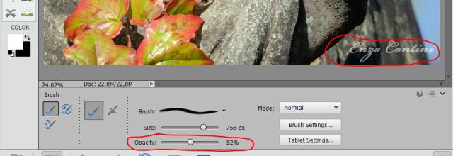 Change the brush opacity