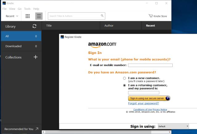 Kindle desktop application on a Windows PC