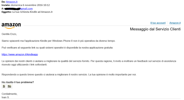 Amazon client service answer