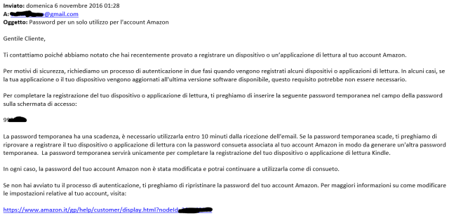 Email from Amazon providing a temporary password to be used on my new device app
