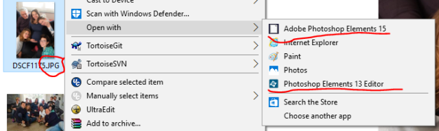 Con i file jpg l'Open with presenta sia l'applicazione desktop sia l'app come possibili alternative