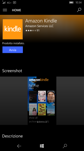 Amazon Kindle app on Windows Store (for phones)