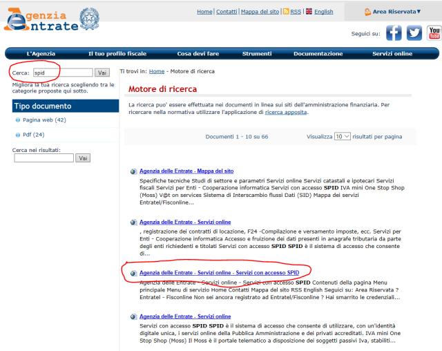 Risultati della ricerca del termine <em>SPID</em> internamente al sito dell'Agenzia delle entrate
