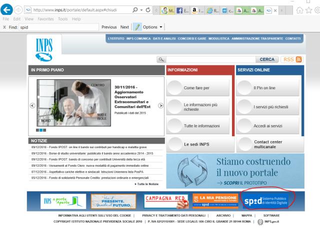 Logo per l'accesso con SPID al sito dell'INPS