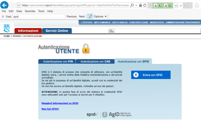 Sezione di Autenticazione con SPID nel sito dell'INPS