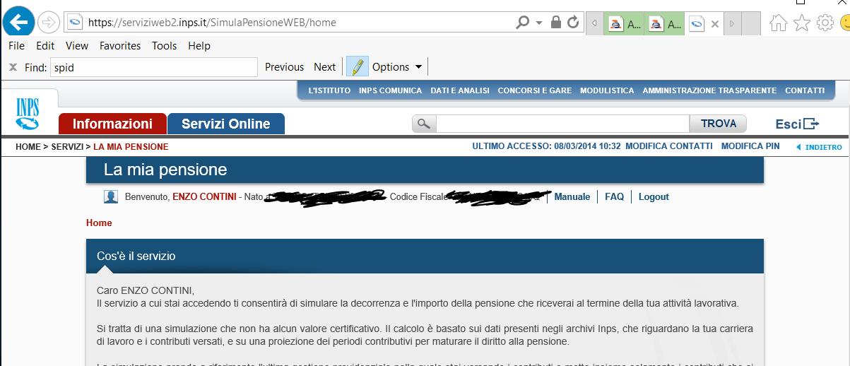 Accesso autenticato al sito dell'INPS