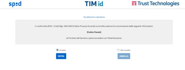 Autorizzazione all'invio del proprio codice fiscale al sito dell'Agenzia delle entrate