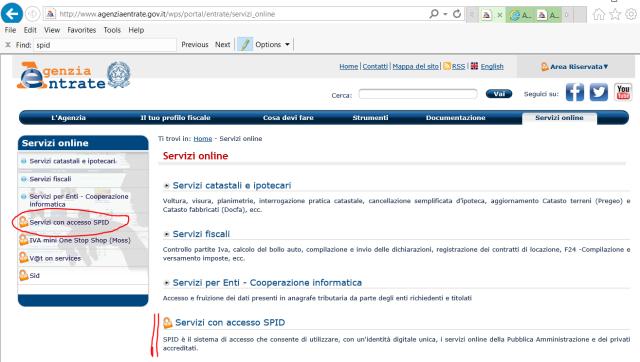 Sezione Servizi online del sito dell'Agenzia delle entrate