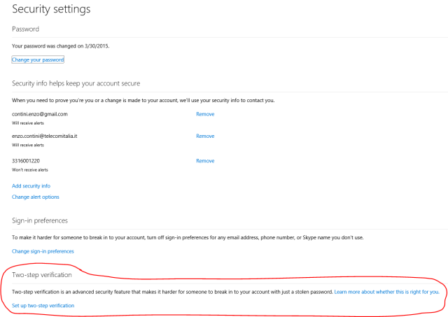 Two-steps verification in the Microsoft account management site