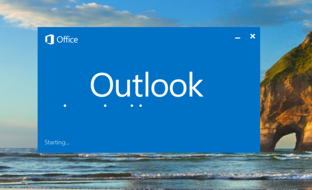 Outlook remains stuck with the starting blu rectangle
