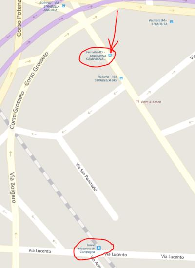 Torino Madonna di Campagna - Fermata 415 per gli orari per cui c'è 8il bus e non il treno