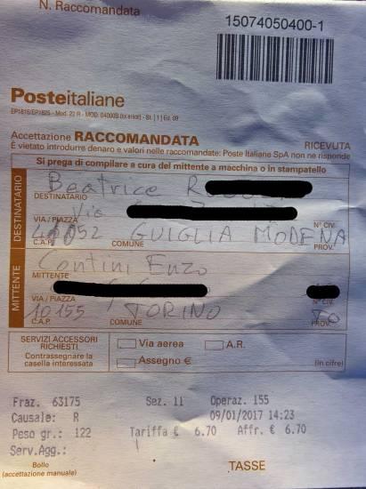 Ricevuta della raccomandata di invio del pacco