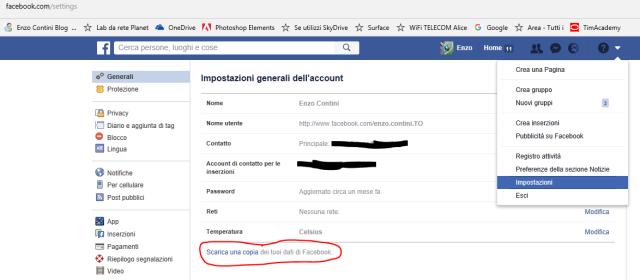 Scaricare una copia dei propri dati su fb