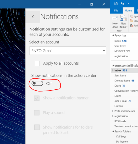 Switch off notifications from the options page of a specific app (e.g. <em>Mail</em> app)
