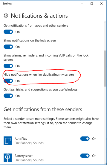 Switch on the Hide notification when I'm duplicating my screen option