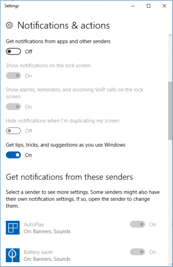 Switch off the Get notification from apps and other senders option