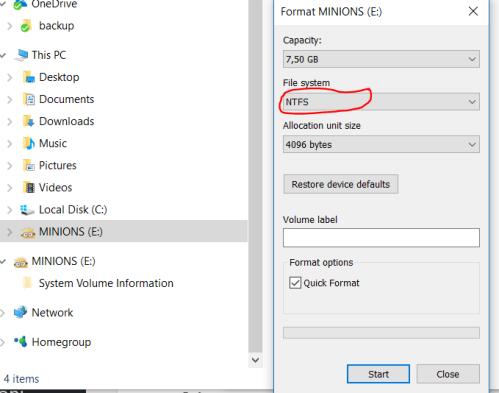 Format in NTFS