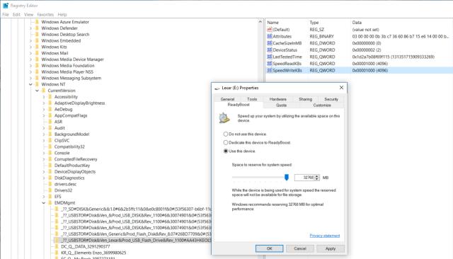 Configurazione del ReadyBoost reso possibile dopo la modifica delle chiavi nel Registry