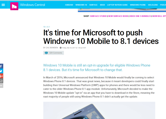 Windows Central - It's time for Microsoft to push Windows 10 Mobile to 8.1 devices