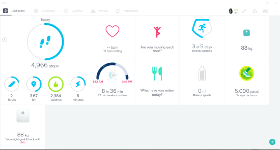 Dashboard dell'app Fitbit
