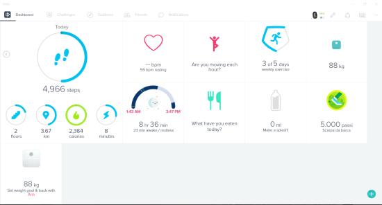Dashboard dell'app Fitbit