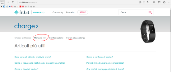 Sezione del sito fitbit.com relativo al modello Charge 2 (manuale, configurazione e forum)