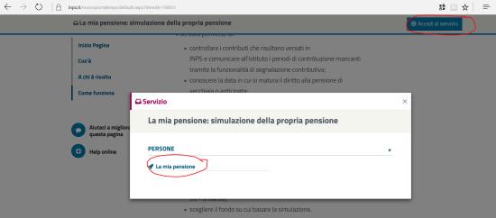 """Accedere al servizio """"La mia pensione"""" (1)"""