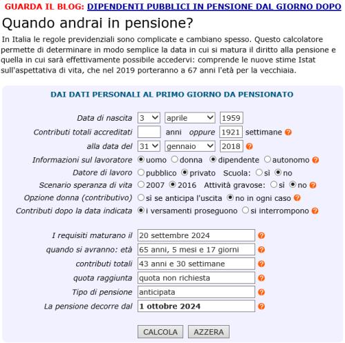 Calcolo della data della pensione (al <em>31/01/2018</em>)