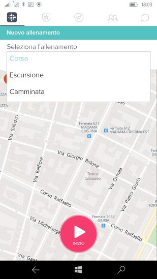 Seleziona la tipologia di allenamento e quindi premere il pulsante rosso di Inizio per avviare la registrazione del percorso sulla mappa