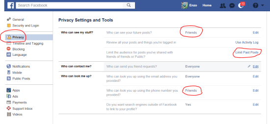 How to change your own privacy settings (3): limits past posts