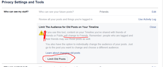 How to change your own privacy settings (4): limits past posts