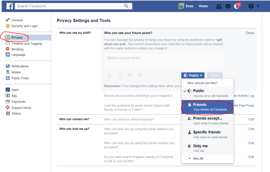 How to change your own privacy settings (2): default setting for next posts