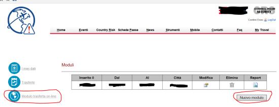 Per ciascuna nuova trasferta, premere Nuovo modulo nella sezione Modulo trasferta on-line