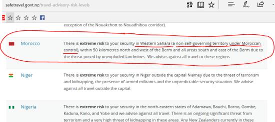 Livello di rischio per ciascuna nazione (con specifiche indicazioni)
