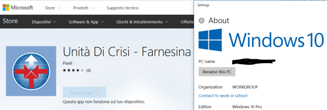 L'app Unità di Crisi - Farnesina non risulta più installabile su PC/tablet con Windows 10