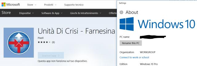 L'app Unità di Crisi - Farnesina non risulta più installabile su PC/tablet con Windows 10