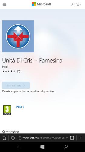 L'app Unità di Crisi - Farnesina non risulta più installabile su smartphone con Windows 10 Mobile